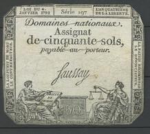 1792 Frankreich 50 Sols Assignat - Assegnati