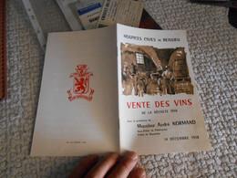Livret Vente De Vins Des Hospices Civiles De Beaujeu Récolt 1958 - Beaujeu