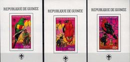 MDB-BK10-211 MPS MINT ¤ GUINEE 1988 3xBLOCK-IMPERFORATED¤ SCOUTING BIRDS OISEAUX BIRDS PAJAROS VOGELS VÖGEL AVES - Sperlingsvögel & Singvögel