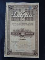 """ROUMANIE - BUCAREST 1938 - LABORATOIRE PHARMACEUTIQUE """"LUTETIA"""" - ACTION DE 10 000 LEI - - Unclassified"""
