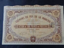 FRANCE - 50 - CHEMINS DE FER DE LA MANCHE - ACTION 100 FRS - PARIS 1905 - ETAT MOYEN - Ohne Zuordnung