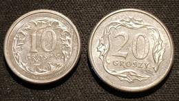 POLOGNE - POLAND - LOT DE 2 PIECES - 10 GROSZY 1993 - KM 279 - 20 GROSZY 1997 - KM 280 - Poland