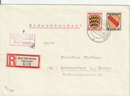 Allemagne Zone Française Lettre Recommandée Bad Dürrheim 1946 - French Zone
