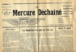 MERCURE DECHAINE - Organe Des Etudiants De L'Institut Supérieur De Commerce De MONS - N° 2 Du 28-11-1930 - Unclassified