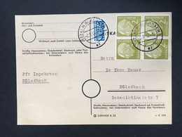 GERMANY 1954 Postkarte Munich Internal Tied With 4 X 2pf + Tax Stamp - Covers & Documents