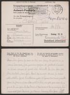 Guerre 40-45 - Carte (réponse) Kriegsgefangenenpost De Fleurus (1941) Via Antwerpen 6 > Stalag XI B Kommando 941 - Lettres