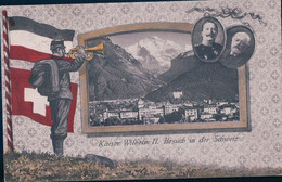 Besuch Des Deutschen Kaisers In Der Schweiz, Portrait De Forrer Et Wilhelm, Drapeau, Soldat, Interlaken, Litho (3.9.12) - Personajes