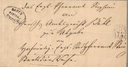 1869 HEIDELBERG Bf M. Inhalt U. Stpl. POSTABLAGE BAUEN/SINZHEIM - [1] Prephilately