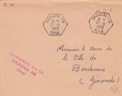 LETTRE. CORSE. 21 11 63. SOLENZARA-AIR. COMMANDANT BA 126. POUR BORDEAUX. - 1961-....