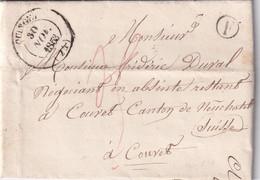 FRANCE 1853 LETTRE DE QUINGEY  AVEC CORRESPONDANCE - 1801-1848: Precursori XIX
