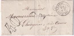 FRANCE 1877 LETTRE DE LES ORMES SUR VIENNE AVEC CORRESPONDANCE - 1801-1848: Precursors XIX