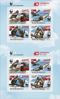 Guine Bissau 2021, WWF, Eagles, Overp. Red, 8val In Sheetlet - Marine Web-footed Birds