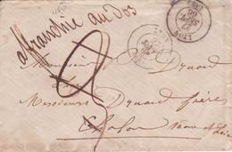 """Taxe 3 Décimes Annulée Mention Manuscrite """"affranchie Au Dos"""" (20c Napoléon) Petite Enveloppe LYON > CHALON / SAONE 1866 - 1849-1876: Période Classique"""