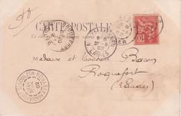 10c MOUCHON Carte ALGER > ROQUEFORT LANDES Mention FD (Fausse Direction ROQUEFORT AVEYRON) 1902 - 1877-1920: Période Semi Moderne