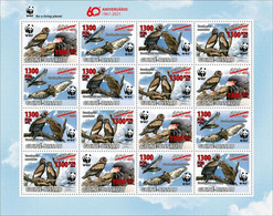 Guinea Bissau 2021, WWF, Eagles, Overp. Red, 16val In Sheetlet - Marine Web-footed Birds