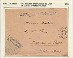 JURA : 44eme Rgt D'Infanterie à LONS LE SAUNIER En 1915 - WW I