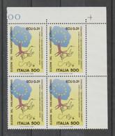 REPUBBLICA:  1989  PARLAMENTO  EUROPEO  -  £. 500  POLICROMO  BL. 4  N. -  SASS. 1868 - Hojas Bloque