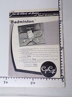 D1/ Publicité Papier GéGé Jeu De Badminton - Advertising