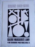 AFFICHE ORIGINALE ANCIENNE EXPOSITION HERBIN Galerie Marguerite Lamy 1975 Paris Beaubourg - Posters