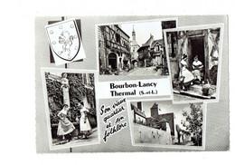 Cpm - 71 - BOURBON LANCY - Multivues Blason Coquille Folklore Femme Vielle - Vieux Quartier - Other Municipalities