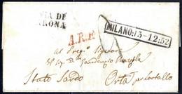 """Cover 1852, Lettera In Porto Assegnato Da Milano 13.12.1852 Per Lortallo, Tassa A Tampone """"2"""" E Annulli """"A. R. F."""" E """"VI - Lombardije-Venetië"""