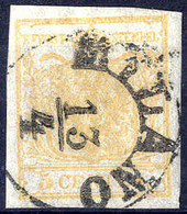 O 1850, 5 Cent. Giallo Ocra, Ben Marginato (Sass. 1 - 250,-) - Lombardije-Venetië