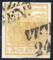 O 1850, 5 Cent. Giallo Ocra, Usato, Cert. Ferchenbauer (Sass. 1) - Lombardije-Venetië