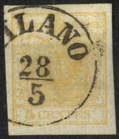 O 1850, 5 Cent. Giallo Ocra, Usato, Cert. Goller (Sass. 1) - Lombardije-Venetië