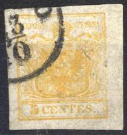 O 1850, 5 Cent. Giallo Arancio Chiaro, Cert. Goller (Sass. 1f) - Lombardije-Venetië