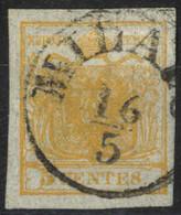 O 1850, 5 Cent. Giallo Arancio, Carta A Seta, Cert. Goller (Sass. 1g) - Lombardije-Venetië