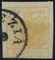 O 1850, 5 Cent. Giallo Arancio, Usato, Cert. Ferchenbauer (Sass. 1g) - Lombardije-Venetië
