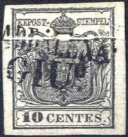 O 1850, 10 Cent. Con Piega Naturale Di Carta, Usato, Sass. 2 - Lombardije-Venetië