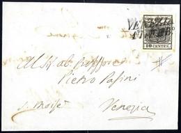 Cover 1850, 10 Cent. Nero, Carta A Mano, Su Lettera Da Venezia, Firm. Sorani (Sass. 2 - ANK 2HI) - Lombardije-Venetië