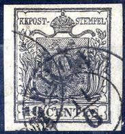 O 1850, 10 Cent. Nero, Usato A Verona, Ben Marginato (Sass. 2 / 250,-) - Lombardije-Venetië