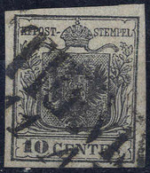 O 1850, 10 Cent. Nero, Usato, Cert. Ferchenbauer (Sass. 2) - Lombardije-Venetië