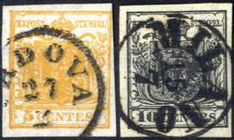 O 1850, 5 Cent Arancio E 10 Cent Nero Intenso, Usati, Sass. 1h E 2d - Lombardije-Venetië