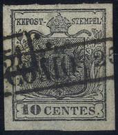 O 1850, 10 Cent. Girgio Nero, Prima Tiratura, Usato, Cert. Steiner (Sass. 2b) - Lombardije-Venetië