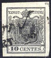 O 1850, 10 Cent. Grigio Nero, Usato, Margini Eccezionali, Firmato Seitz (Sass. 2c) - Lombardije-Venetië