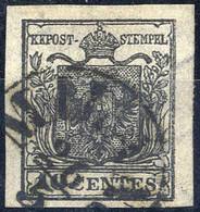 O 1850, 10 Cent. Nero Intenso, Usato, Cert. Steiner (Sass. 2d) - Lombardije-Venetië