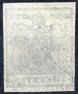 """O 1850, 10 Cent. Nero, """"decalco"""", Cert. Matl (Sass. 2f) - Lombardije-Venetië"""