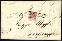 Cover 1850, 15 Cent. Rosso Carminio, Prima Tiratura, Su Lettera Da Verona, Firm. Raybaudi (Sass. 3b - ANK 3HI - Erstdruc - Lombardije-Venetië