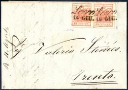Cover 1850, 15 Cent. Rosso, Coppia Su Lettera Da Lecco, Firm. Colla (Sass. 3 - ANK 3HI) - Lombardije-Venetië