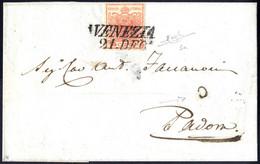 Cover 1850, 15 Cent. Rosso, Prima Tiratura, Su Lettera Da Venezia, Firm. Raybaudi (Sass. 3a - ANK 3HI - Erstdruck) - Lombardije-Venetië