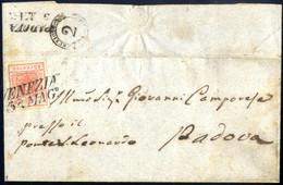 Cover 1850, 15 Cent. Rosso, Primo Tipo, Su Lettera Da Venezia (Sass. 3 - ANK 3HI) - Lombardije-Venetië