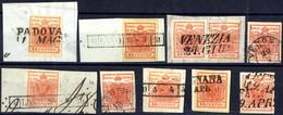 """O/piece 1854, """"Pieghe Di Carta"""", 15 Cent. Rosso, Lotto Otto Esemplari Più Una Coppia Con Varie Tipologie Di Pieghe Natur - Lombardije-Venetië"""