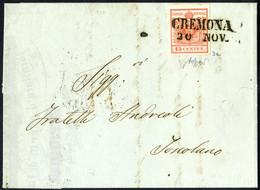 Cover 1850, 15 Cent. Rosso, Prima Tiratura, Su Lettera Da Cremona, Firm. Caffaz (Sass. 3a - ANK 3HI Erstdruck) - Lombardije-Venetië