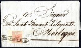 Cover 1850, 15 Cent. Rosso Vemiglio Chiaro, Ampio Bordo Di Foglio A Sinistra, Su Lettera Da Bergamo 12.2.1851, Firm. Sor - Lombardije-Venetië
