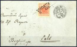 """Cover 1850, """"Pieghe Di Carta"""", 15 Cent. Rosso Vermiglio Intenso, Vistosa Piega Diagonale, Su Frontespizio Da Viadana 3.6 - Lombardije-Venetië"""