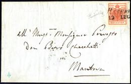 Cover 1850, 15 Cent. Rosso Vermiglio Intenso (carta A Mano) Su Lettera Da Revere 12.Lug, Ex Collezione Provera, Cert. Go - Lombardije-Venetië