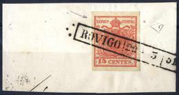 """Piece 1850, """"Pieghe Di Carta"""", 15 Cent. Rosso Vermiglio, Firm. E. Diena (Sass. 4) - Lombardije-Venetië"""
